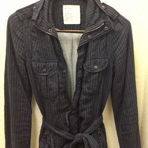 Classy but fun pinstriped fall weight jacket.